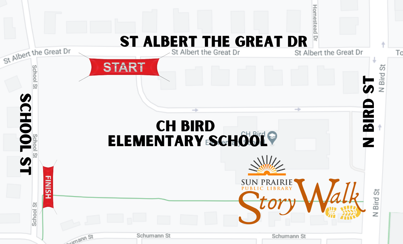 Map location of the Story Walk showing start on St. Albert the Great Dr. on the fence at the back entrance to the school.