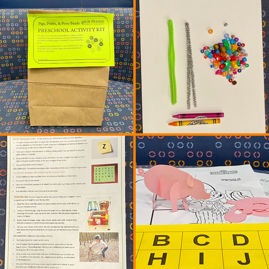 Four photos in a square grid. Top left photo of the bag that holds all the contents. Top right photo is of some of the supplies: pipe cleaners, beads, and crayons. Bottom left photo is of the instruction sheet that comes in the bags. Bottom right photo is of some more of the supplies: paper pigs, the alphabet in squares to cut out, and some coloring sheets.