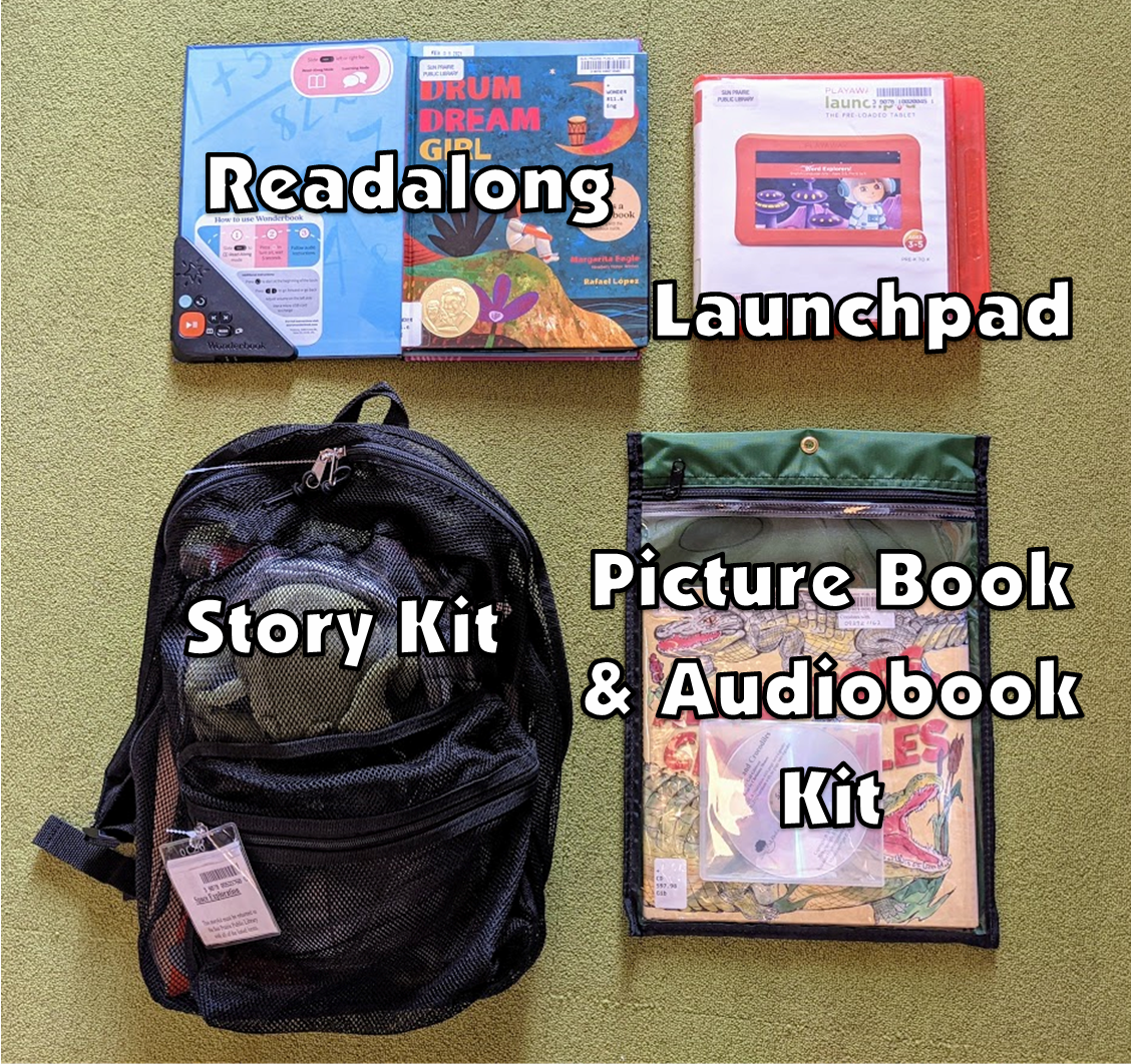 photo of a Readalong, Launchpad, Story Kit, and Picture Book and Audiobook Kit. Descriptions of the items are in the text next to the photo.