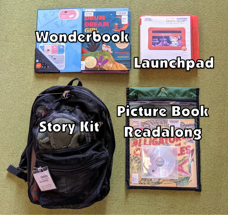 photo of a Wonderbook, Launchpad, Story Kit, and Picture Book Readalong. Descriptions of the items are in the text next to the photo.