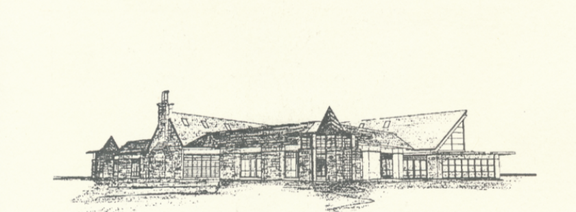 a sketch of the outside of the sun prairie library built in 1999